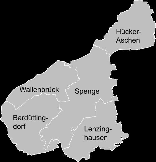 Ortsteile in Spenge